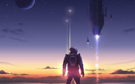Wallpaper Art picture, astronaut, rocket, planet