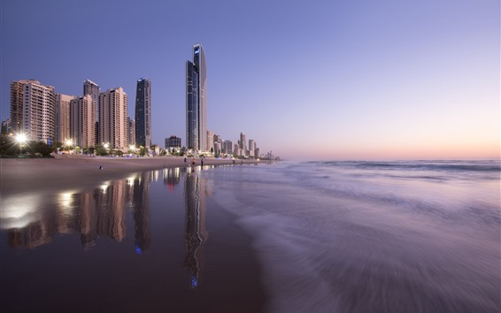 Wallpaper Australia, Queensland, skyscrapers, beach, sea, city, dusk