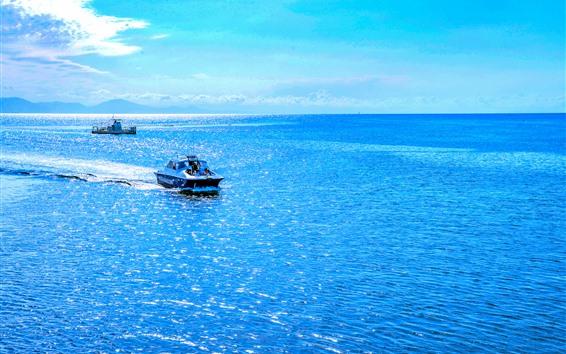 Papéis de Parede Austrália, lindo mar azul, barco