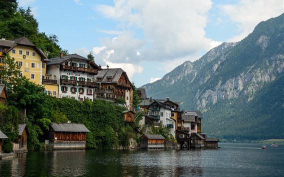 Обои Австрия, Гальштат, озеро, альпы, дома, место для путешествий
