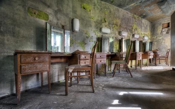 Fondos de pantalla Barbería, espejo, silla, ruinas