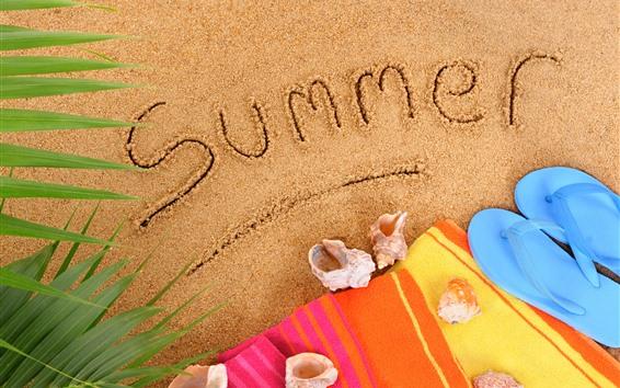 Wallpaper Beach, sand, flip flops, shell, summer