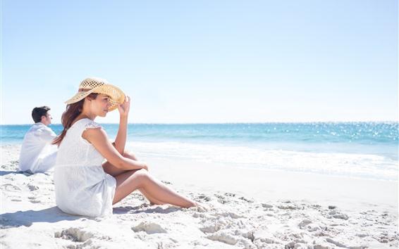 Wallpaper Beach, sand, woman, man, sea, summer