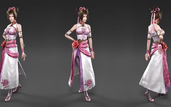 Fond d'écran Belles filles 3D, asiatiques, trois vues de côté