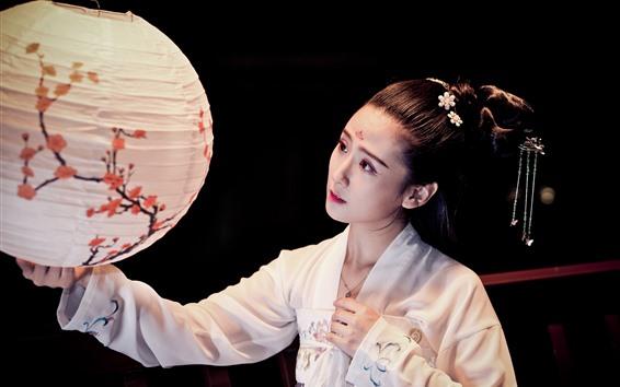 Wallpaper Beautiful Chinese girl, Han Dynasty clothing, lantern
