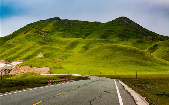 Wallpaper Beautiful Gannan, green hills, road, China
