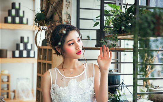 Wallpaper Beautiful asian girl, white lace skirt, makeup