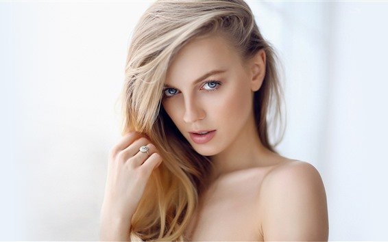 Wallpaper Beautiful blonde girl, hairstyle