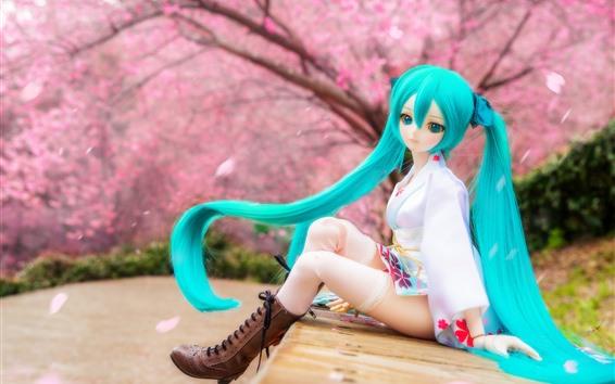 Обои Красивая девушка с куклой девушкой, Хацуне Мику