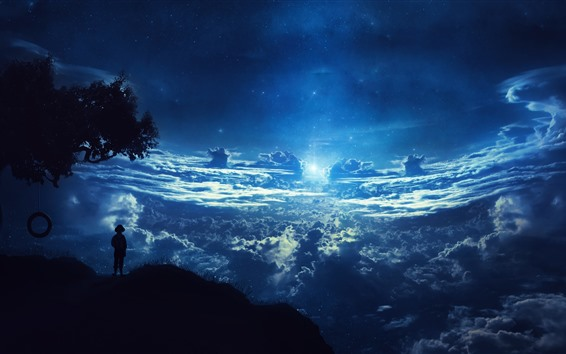 Wallpaper Beautiful dream world, clouds, sky, starry, moon, silhouette