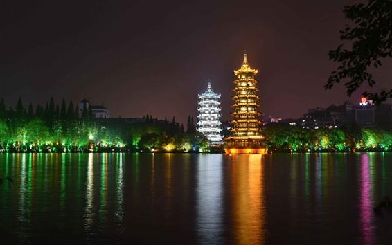 Обои Красивый парк ночью, башня, огни, озеро