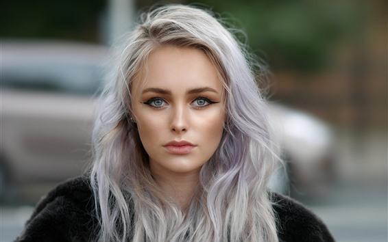 Fond d'écran Beauté fille blonde, regarde, visage