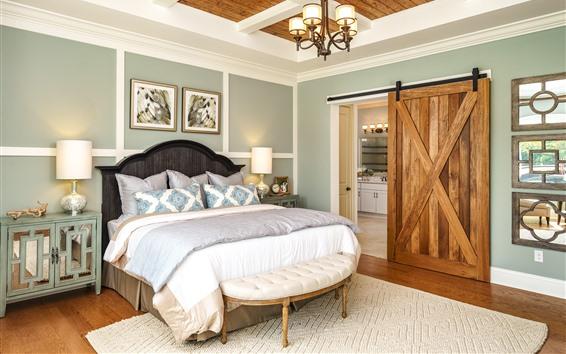 Papéis de Parede Quarto, cama, interior