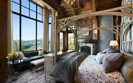 Wallpaper Bedroom, retro style, bed, window