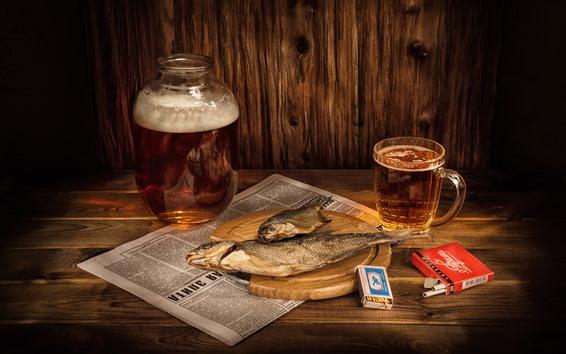 Fond d'écran Bière, poisson sec, cigarette, allumette