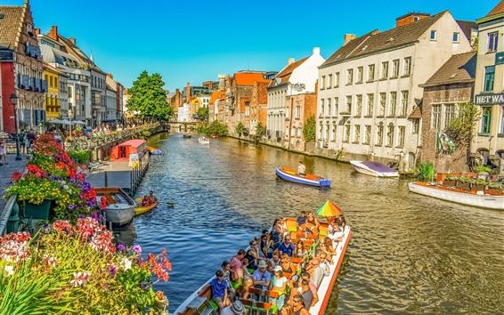 壁紙 ベルギー、ゲント、家、川、ボート、都市