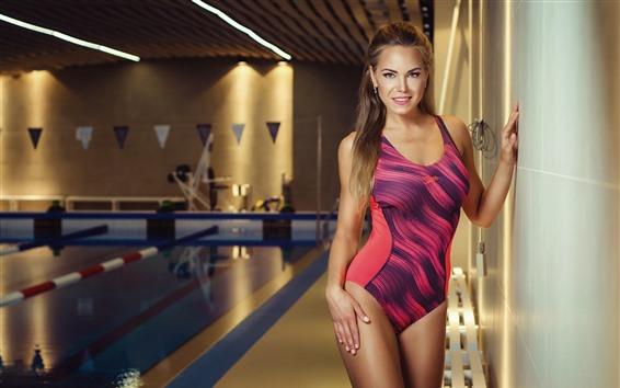 Wallpaper Blonde girl, bikini, swim pool