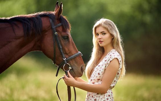 Wallpaper Blonde girl, long hair, brown horse, summer