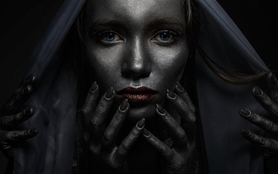 Wallpaper Blue eyes girl, darkness, many hands, horror