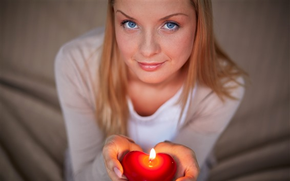 Wallpaper Blue eyes girl, hands, love heart candle, flame