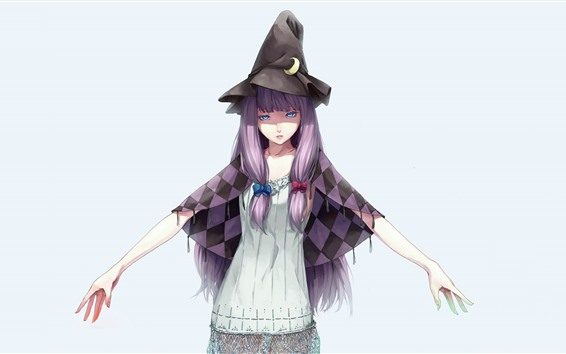 Wallpaper Blue eyes girl, purple hair, witch, anime