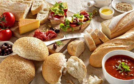 Wallpaper Bread, jam, tomatoes, meat