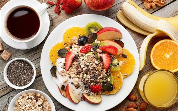 Обои Завтрак, мюсли, кофе, банан, яблоко, апельсин, орехи
