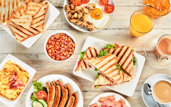 배경 화면 아침 식사, 소시지, 샌드위치, 베이컨, 음식