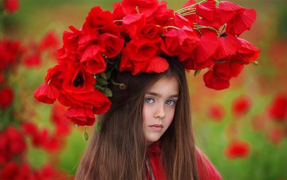 Fond d'écran Cheveux bruns petite fille, coquelicots rouges, couronne