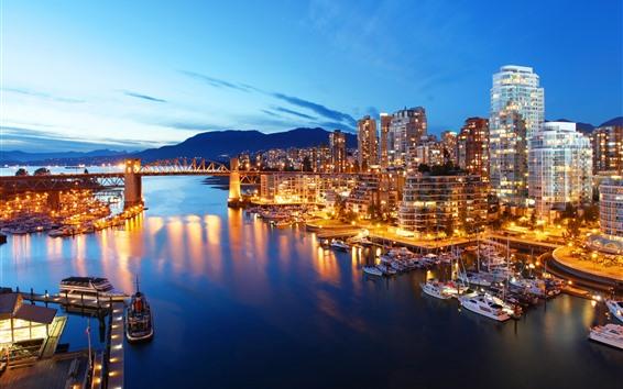 배경 화면 캐나다, 밴쿠버, 도시, 요트, 보트, 강, 밤, 조명