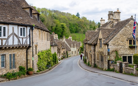 Wallpaper Castle Combe Village, England, houses, road
