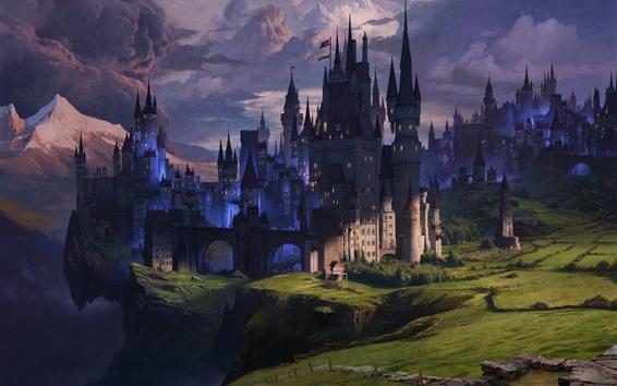 Papéis de Parede Castelo, nuvens, crepúsculo, colinas