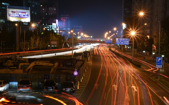 Wallpaper China, Beijing, night, road, traffic, lights