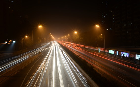 Wallpaper China, city, night, road, light lines
