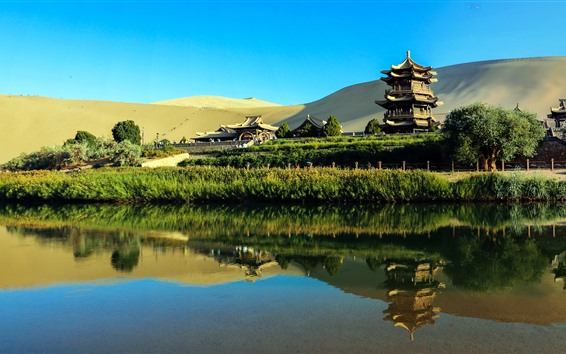 Wallpaper China, tourist attractions, park, pagodas, lake, desert