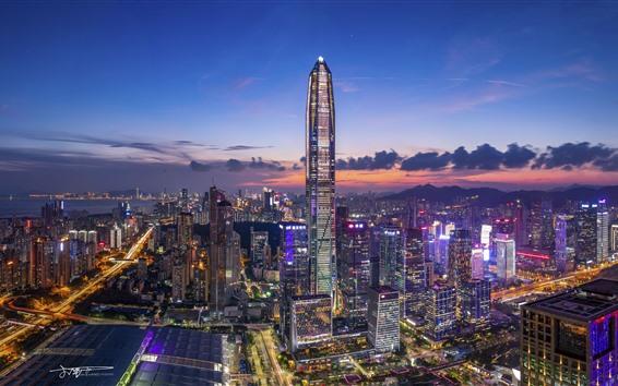 Wallpaper Chinese city, night view, skyscraper