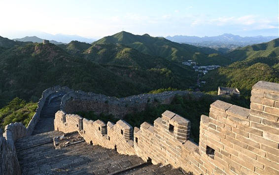 Wallpaper Chinese travel place, Great Wall, steps, ruins, mountains