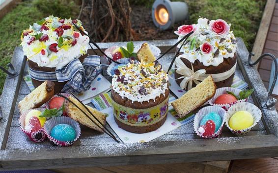 Fond d'écran Gâteaux au chocolat, oeufs colorés, Pâques
