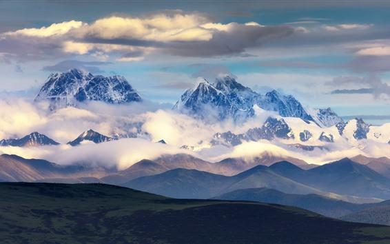 Hintergrundbilder Schöne Naturlandschaft Chuanxis, Berge, Wolken