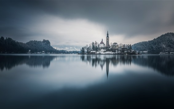 Wallpaper Church, Bled, Slovenia, lake, trees, snow, winter