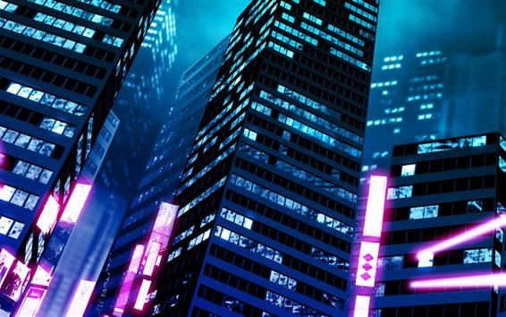 Wallpaper City buildings, night, lights, art picture