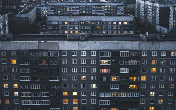 Wallpaper City night, buildings, houses, windows