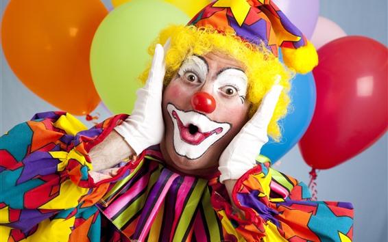 Wallpaper Clown, colorful clothes, makeup