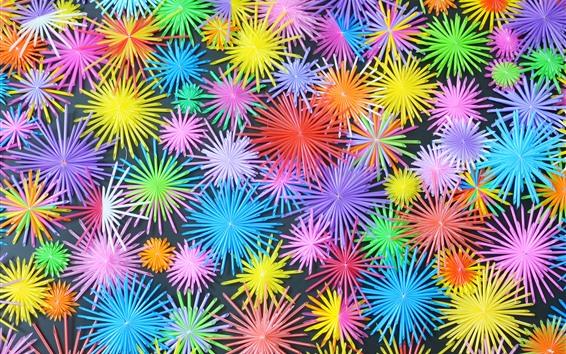 배경 화면 다채로운 꽃, 호스, 삽화