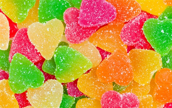 Wallpaper Colorful marmalade candy, love heart shaped