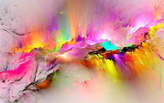Wallpaper Colorful paint, rainbow, abstract