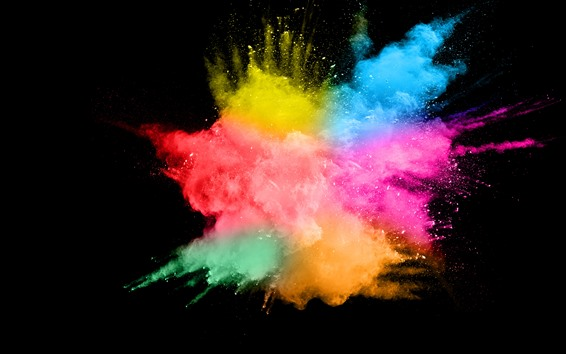 Wallpaper Colorful smoke, splash, abstract, black background
