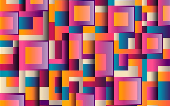 Wallpaper Colorful squares, geometric, abstract background
