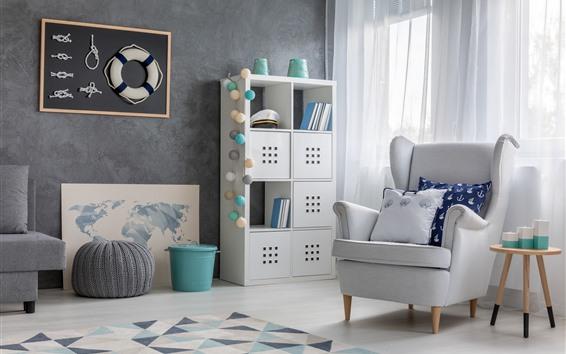 壁紙 クルーの部屋、窓、椅子、白いスタイル