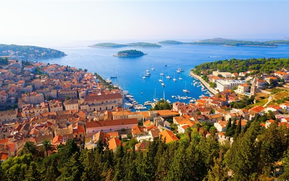 Papéis de Parede Croácia, Adriatica, cidade, casas, mar, ilhas